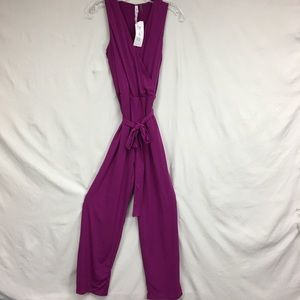 NWT NY Collection Purple Sleeveless Jumpsuit Sz XL